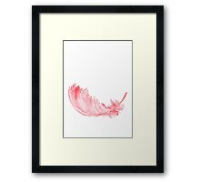 Pink Feather Watercolor Painting Illustration Draving Picture Poster Framed Print