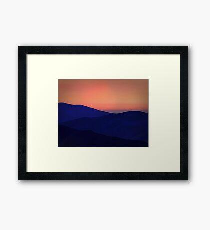 Orange Sorbet Sky and Blue Mountains Framed Print