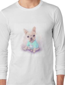 French Bull dog puppy sits on a white, watercolor painting Long Sleeve T-Shirt