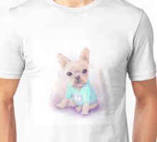 French Bull dog puppy sits on a white, watercolor painting Unisex T-Shirt