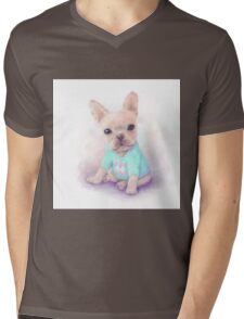 French Bull dog puppy sits on a white, watercolor painting Mens V-Neck T-Shirt