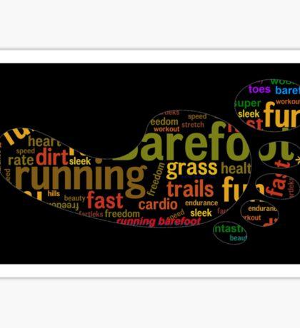 Barefoot running word cloud Sticker