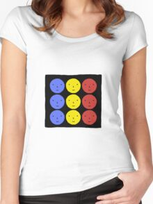 Funky Tri Color Face Design | Cool Line Art Women's Fitted Scoop T-Shirt