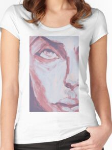 Explosive Colorful Portrait Painting Women's Fitted Scoop T-Shirt