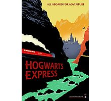 Hogwarts Express Retro Travel Poster Photographic Print