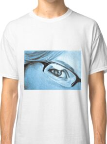Drawing of girl with glasses, detail. Classic T-Shirt