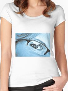 Drawing of girl with glasses, detail. Women's Fitted Scoop T-Shirt
