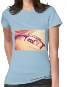 Drawing of girl with glasses, detail. Womens Fitted T-Shirt