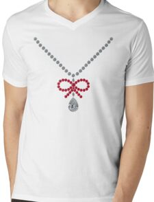 Bow Ruby Necklace Mens V-Neck T-Shirt