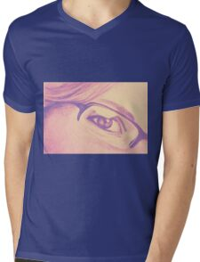 Drawing of girl with glasses, detail. Mens V-Neck T-Shirt