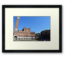 8 August 2016 Photography of red brick buildings from Piazza del Campo in Siena, Italy Framed Print
