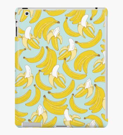 Banana pattern on turquoise background iPad Case/Skin