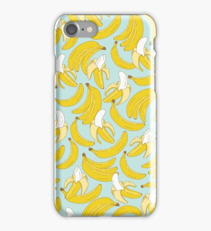 Banana pattern on turquoise background iPhone Case/Skin