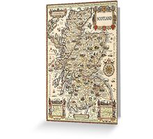 Vintage Scotland map greeting card, postcard - Christmas card Greeting Card