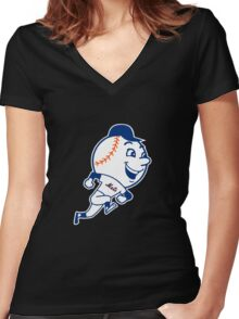 NY Mets Mascot Women's Fitted V-Neck T-Shirt