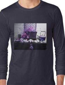 Rustic photo shells, chest, vines and teapot Long Sleeve T-Shirt