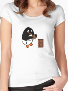 Baby Penguin With Blocks Women's Fitted Scoop T-Shirt