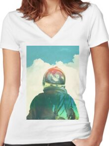 God is an astronaut Women's Fitted V-Neck T-Shirt