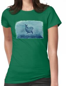 Blue Notches the Watercolor Dolphin Womens Fitted T-Shirt