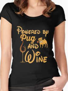 Pugs - Powered By Pug And Wine Women's Fitted Scoop T-Shirt