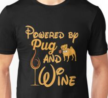 Pugs - Powered By Pug And Wine Unisex T-Shirt