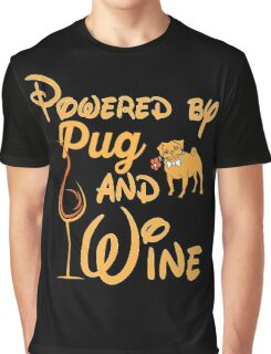 Pugs - Powered By Pug And Wine Graphic T-Shirt