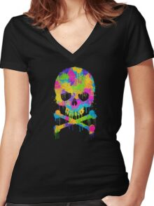 Abstract Trendy Graffiti Watercolor Skull  Women's Fitted V-Neck T-Shirt