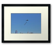 Helicopters Flying Over The Hudson Rv. Framed Print