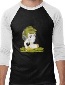 I Love music, teenager listening music Men's Baseball ¾ T-Shirt