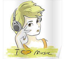 I Love music, teenager listening music Poster