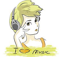 I Love music, teenager listening music Photographic Print