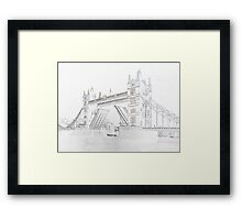 Tower Bridge - Black and White line drawn style Framed Print