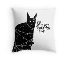 Black Cat Christmas desaster Throw Pillow