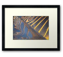 abstract metallic blue, yellow and silver reflection Framed Print