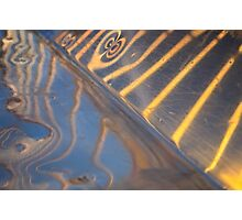 abstract metallic blue, yellow and silver reflection Photographic Print