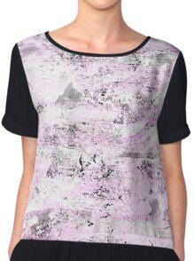 Pink & Gray Abstract Chiffon Top