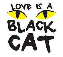 LOVE IS A BLACK CAT Photographic Print