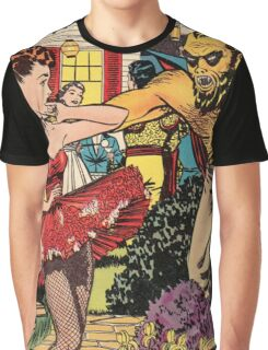 Demon attacking a young woman 50s comic vintage pop art Graphic T-Shirt