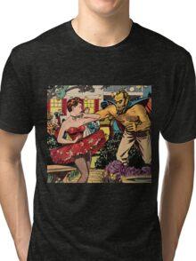 Demon attacking a young woman 50s comic vintage pop art Tri-blend T-Shirt