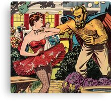 Demon attacking a young woman 50s comic vintage pop art Canvas Print