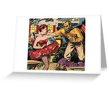 Demon attacking a young woman 50s comic vintage pop art Greeting Card