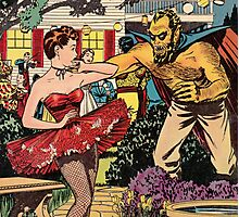 Demon attacking a young woman 50s comic vintage pop art Photographic Print