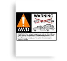AWD Warning Towing Subaru Canvas Print