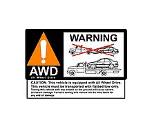 AWD Warning Towing Subaru Photographic Print
