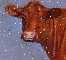 Red Beef Cow, Hereford in Snow, Winter, Farm Animal, Art by Joyce Geleynse