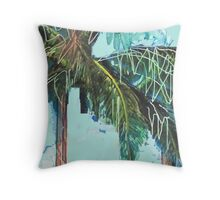 Symbols of Summer Beach Cocktails and Deck Chairs  Throw Pillow