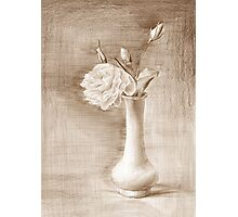 painted still life with flowers Photographic Print