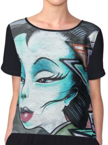 Urban Fashion Street Art Style Geisha Chiffon Top