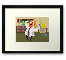 Mad, Scientist, Physicist, Chemist, Cartoon, Fun, Funny Framed Print