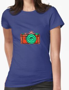 Bold and Colorful SLR Line Drawing Womens Fitted T-Shirt